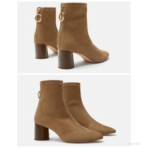 ZARA Ring Tab Heeled Stretch Ankle Boots